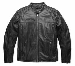 Harley Davidson Men MIDWAY Distressed Charcoal Leather Jacke