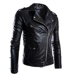 HEFLASHOR  Autumn Men Fashion Motorcycle Leather Jacket slim