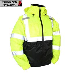 Hi-Vis Insulated Safety Bomber Reflective Jacket ROAD WORK H