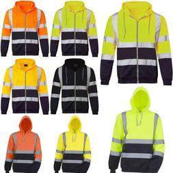 HI VIS Insulated Safety Hoodie Jacket Coat Mens Sweatshirt R
