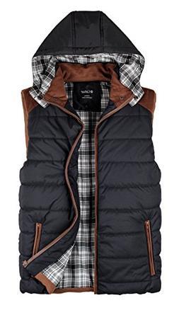 Calliar Men's Fashion Design Hooded Down Vest,Black,XL
