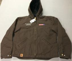 CARHARTT HOODED HEAVY DUTY WARM BROWN WORK JACKET MENS LARGE