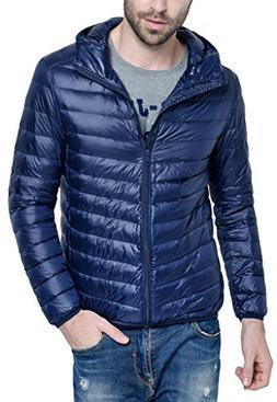 Men's Hooded Packable Down Puffer Coat Lightweight Down Fall