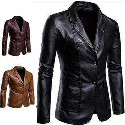HOT Mens Jacket Leather Warm Blazer Coat Casual Business For
