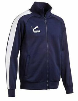 PUMA ICONIC T7 TRACK JACKET NAVY WHITE MENS ZIP ATHLETIC FAS