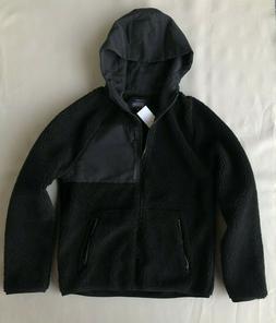 J. Crew Mens S Sherpa Hoodie Coat Hooded Jacket Black Fleece