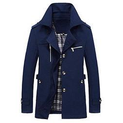 YOcheerful Men Jacket Coat Winter Warm Outwear Overall Solid