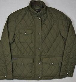 Polo Ralph Lauren Jacket Diamond Quilted Coat Leather Trim G
