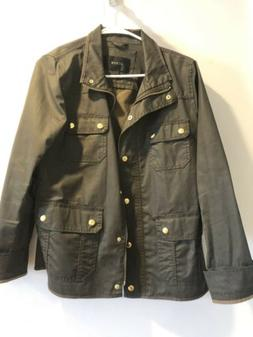 Jcrew womens Military Style jacket size Large Green with Gol