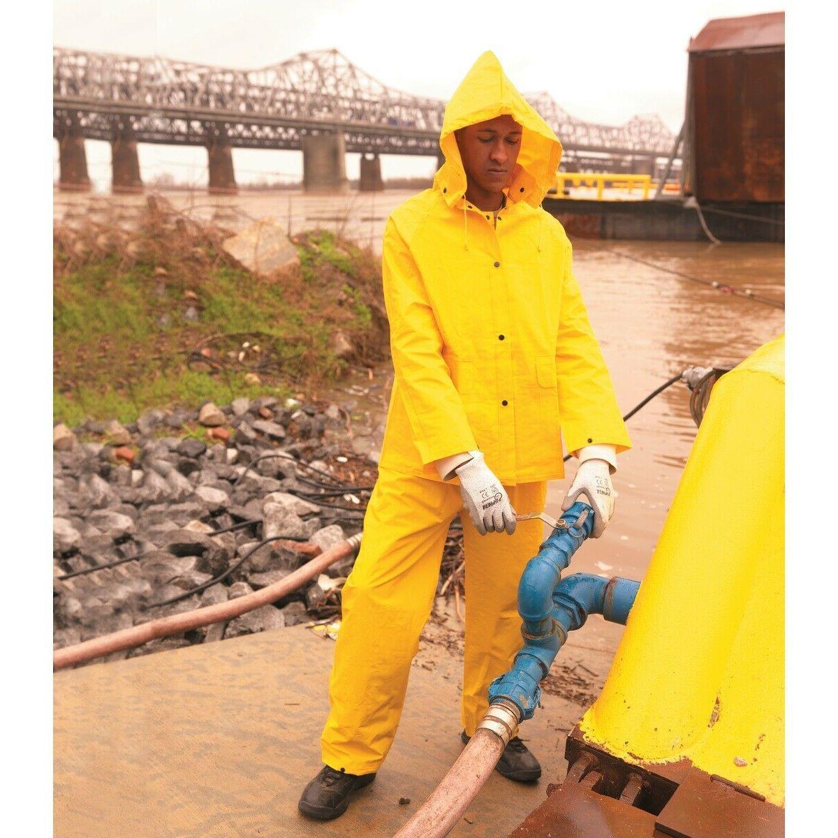 3 Suit Yellow w Hood Overalls