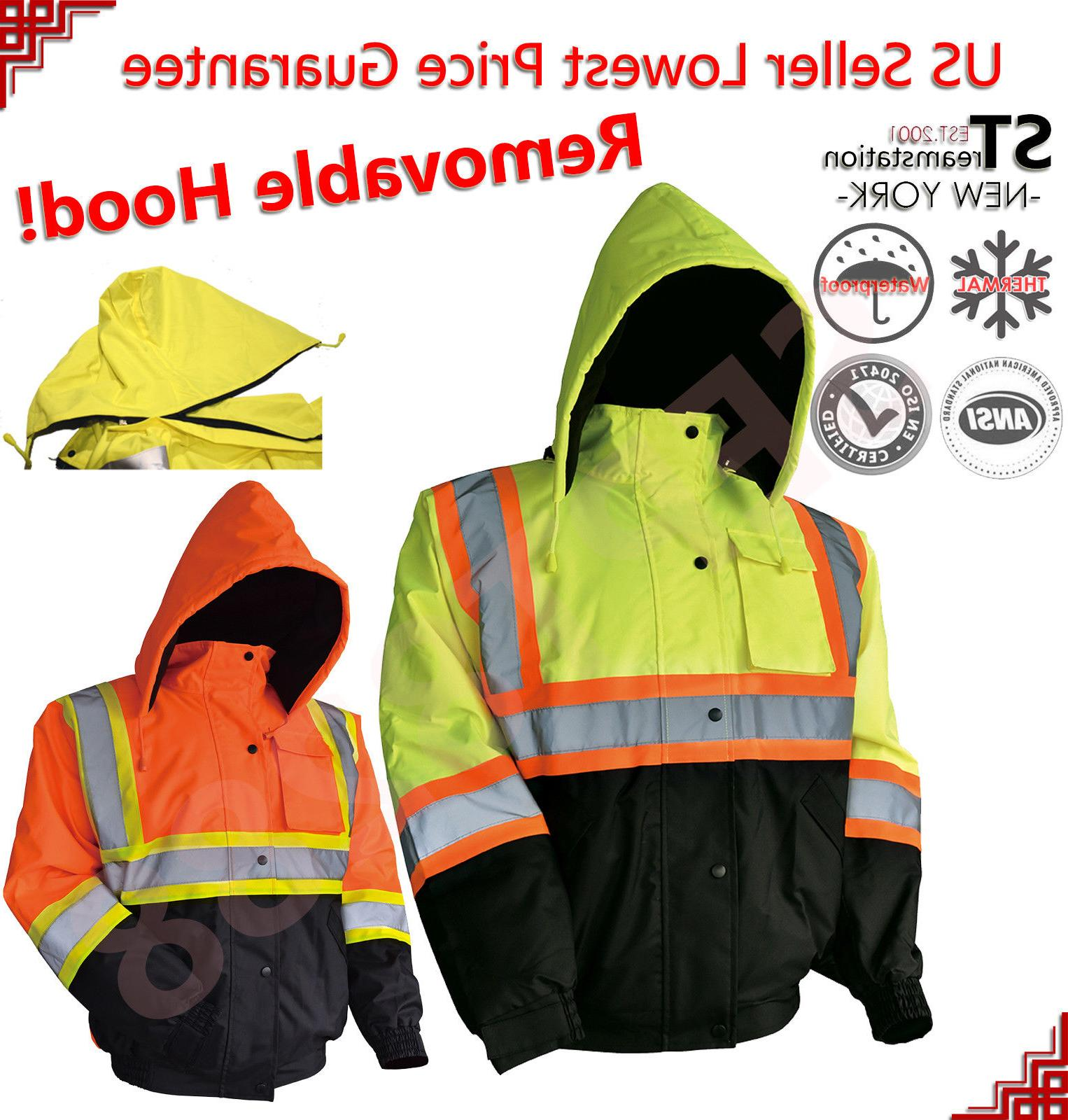 Personal Protective Equipment (ppe) Mens Hi Viz High Visibility Bomber Safety Work Black Hooded Jacket Coat All Size Protective Jackets