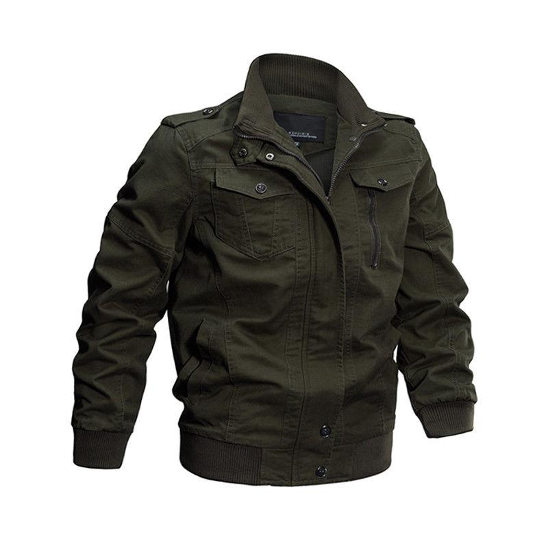 Mens Zipper Casual Jacket Army Coat Motorcycle