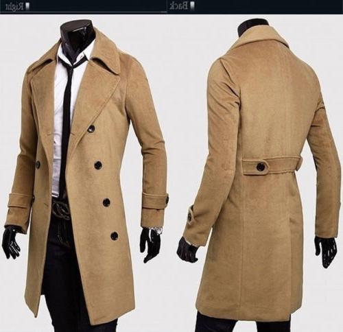 Mens Long Coat Jacket Outwear Winter