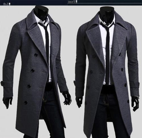 Mens Gentlemen Breasted Long Jacket Outwear Winter