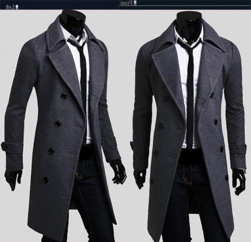 Mens Gentlemen Breasted Long Jacket Outwear Winter