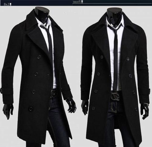 Mens Gentlemen Double Long Jacket Outwear Winter