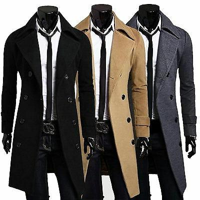 Mens Gentlemen Double Breasted Long Overcoat Trench Coat Jac