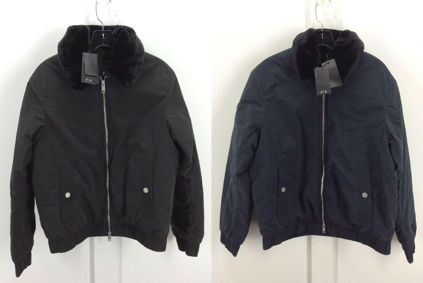 A X Armani Exchange Mens Eco Fur Lined Bomber Blouson Jacket