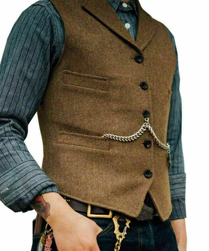 Mens Tweed Lapel Vest Jacket Herringbone Waistcoat Formal Sleeveless