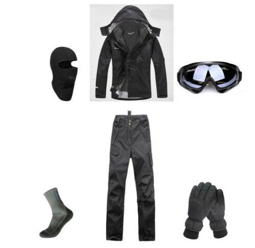 D32 Men Ski Snowboard Jacket Pants Gloves Goggles Balaclava