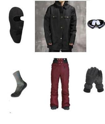 D30 Men Ski Snowboard Jacket Pants Gloves Goggles Balaclava