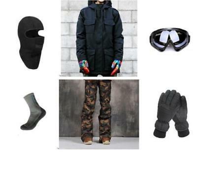 D60 Men Ski Snowboard Jacket Pants Gloves Goggles Balaclava