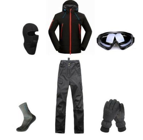 D101 Men Ski Snowboard Jacket Pants Gloves Goggles Balaclava