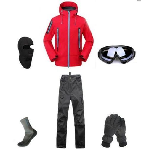 D97 Men Ski Snowboard Jacket Pants Gloves Goggles Balaclava
