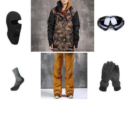 E72 Men Ski Snowboard Jacket Pants Gloves Goggles Balaclava