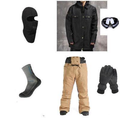 E76 Men Ski Snowboard Jacket Pants Gloves Goggles Balaclava