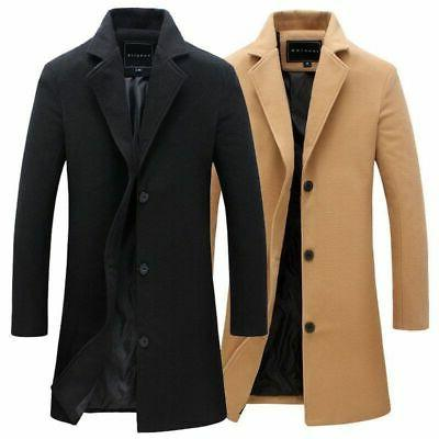 Mens Winter Warm Wool Trench Coat Double Breasted Overcoat L