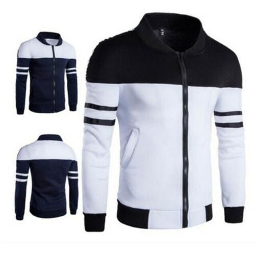 Fashion Men Zipper Jacket Slim Collar Coat Overcoat Warm Cas