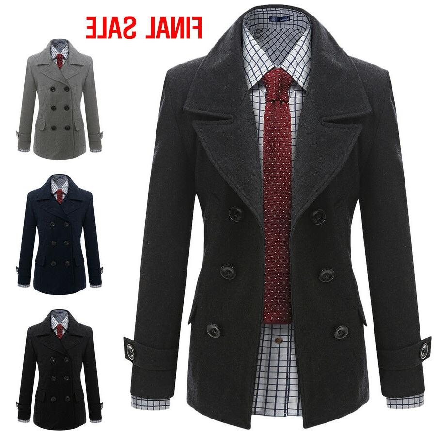 Doublju Mens Casual Double Wool Jacket Outer