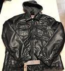Levi's Premium Finish Leather Hooded Full Zip Jacket Black M