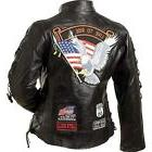 Womens Black Genuine Buffalo Leather MOTORCYCLE JACKET Coat