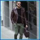 New Hot Men's Genuine Lambskin Leather Jacket Brown Slim fit