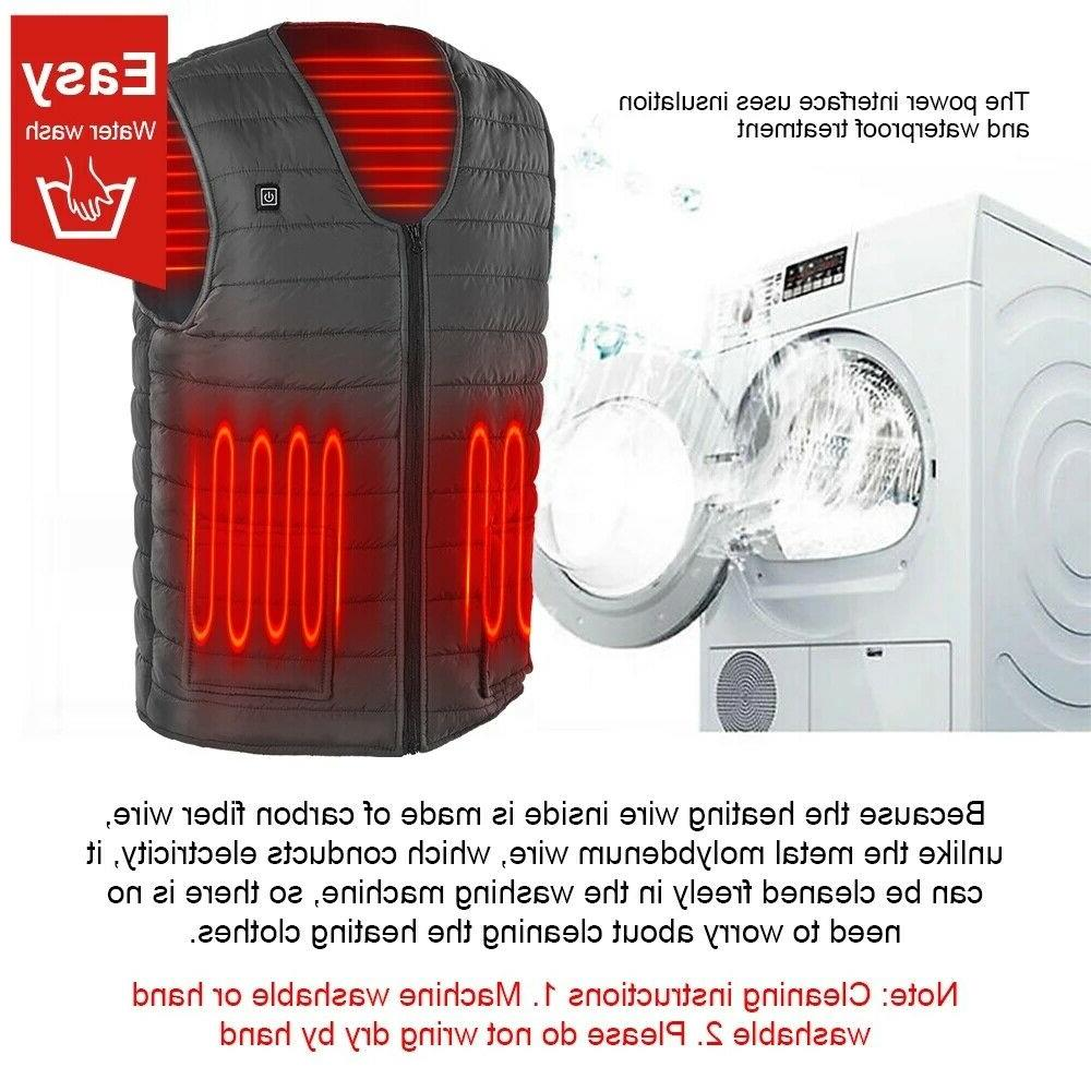 Heated Vest Winter Warm Electric Men Thermal