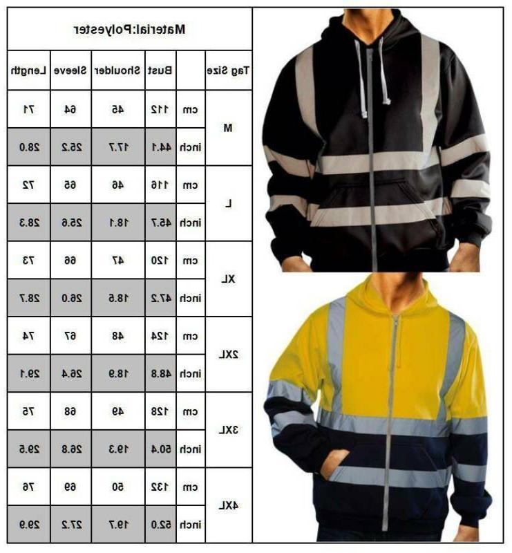 HI Hoodie Jacket Sweatshirt Reflective Visibility