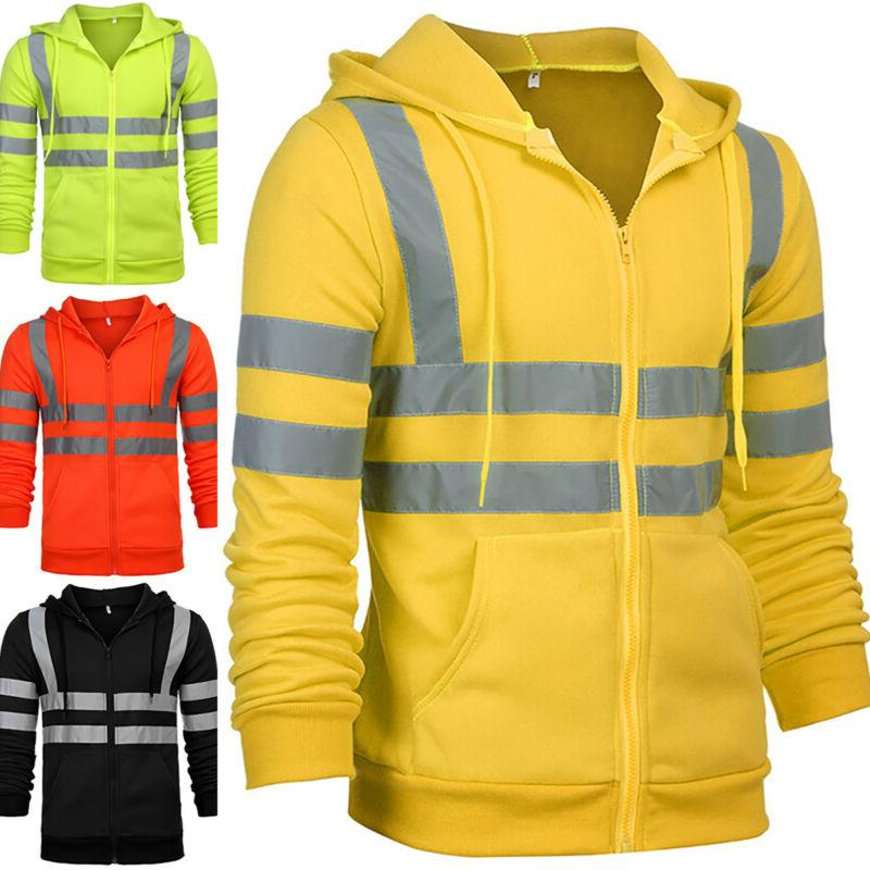 Men Women Hi Viz Fleece Hoodie Coat Jacket Vis Visibility Zi