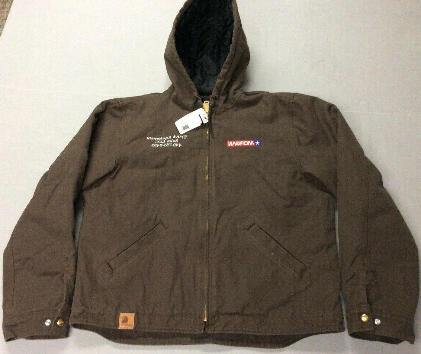 hooded heavy duty warm brown work jacket