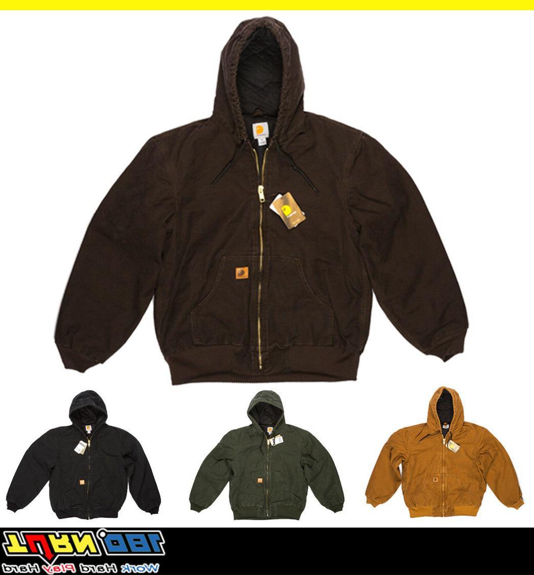 j130 mens sandstone duck active hood jacket