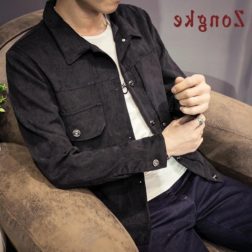 Zongke Japan Corduroy <font><b>Jacket</b></font> Streetwear Coat Windbreaker <font><b>Men</b></font> 5XL