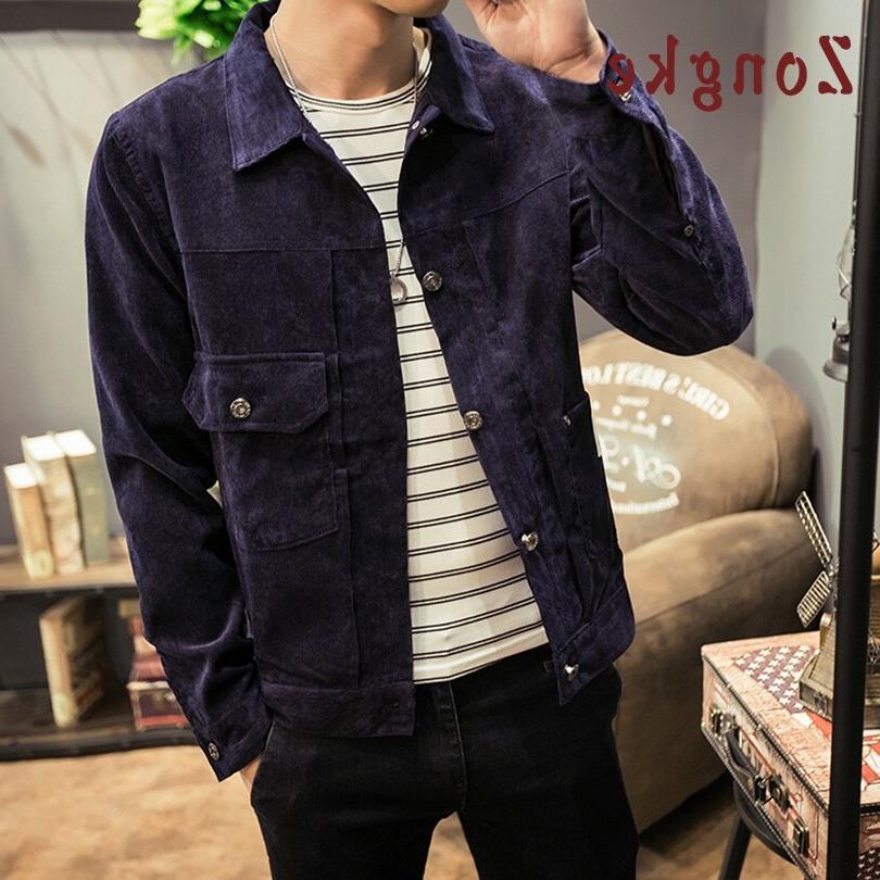 Zongke Japan Corduroy Streetwear <font><b>Men</b></font> <font><b>Jacket</b></font> Windbreaker <font><b>Men</b></font> New