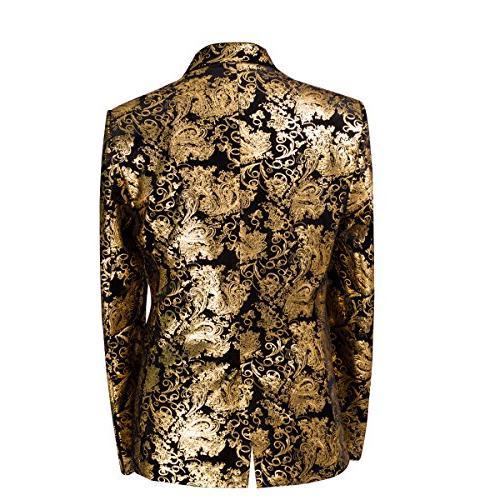 Men's Casual Dress Suit Fit Blazer Golden Large