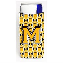 Letter M Football Black, Old Gold and White Ultra Beverage I