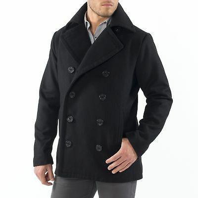 Alpine Mason Mens Wool Blend Pea Jacket Double Coat