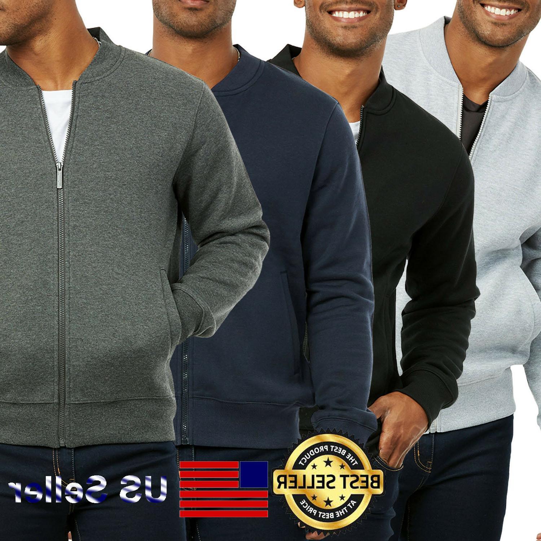 men fleece bomber jacket baseball casual cotton