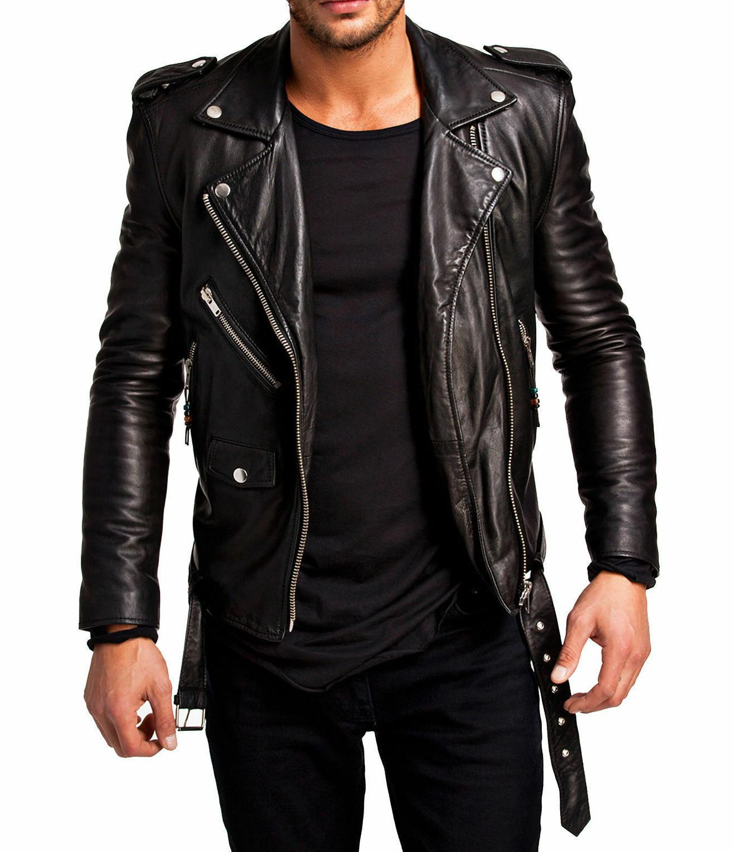 men leather jacket motorcycle black slim fit