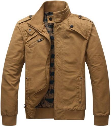 Dwar Men's Casual Long Sleeve Full Zip Jacket with Shoulder
