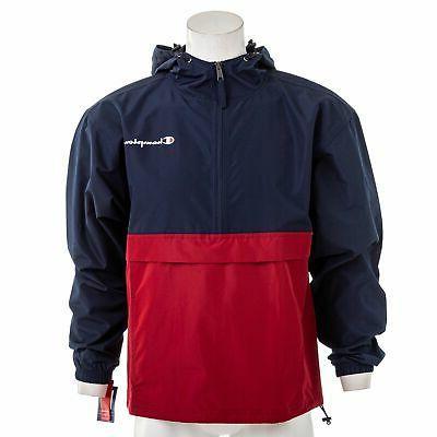 men s colorblocked packable half zip jacket